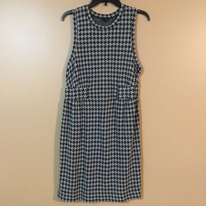Theory Houndstooth Gray Black Mini Dress Large